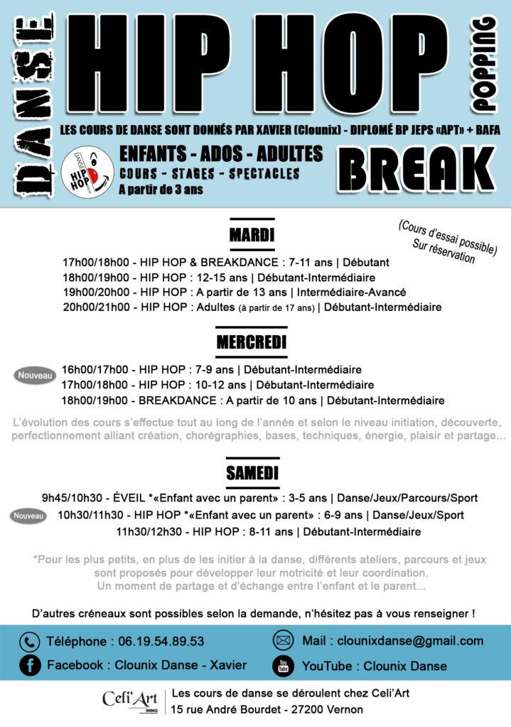 Rentrée plaquette - Danse Hip Hop Break 2021-2022 - Clounix - Ecole de danse Celi'Art Vernon Evreux Pacy 27